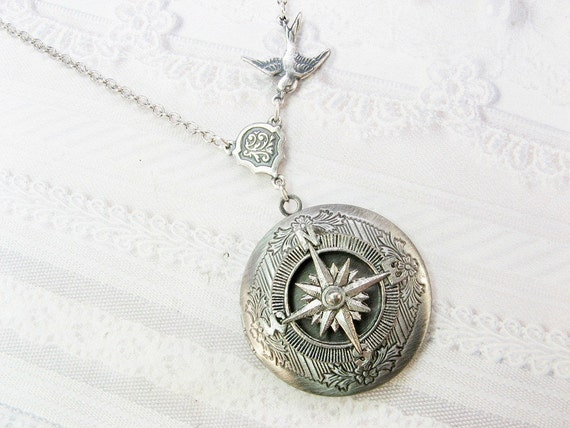 Silver Compass Locket Necklace - ORIGINAL Travel Locket - Necklace by BirdzNbeez - Christmas Wedding Birthday Bridesmaids Gift