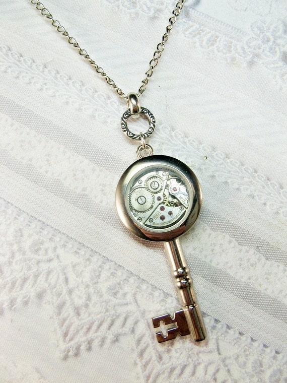 Steampunk Key Necklace - Silver Key  - Jewelry by BirdzNbeez