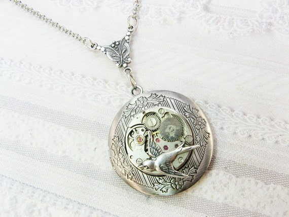 STEAMPUNK Locket Necklace - Silver Fly Me Home - The ORIGINAL - Jewelry by BirdzNbeez - Christmas Birthday Wedding Bridesmaid Gift