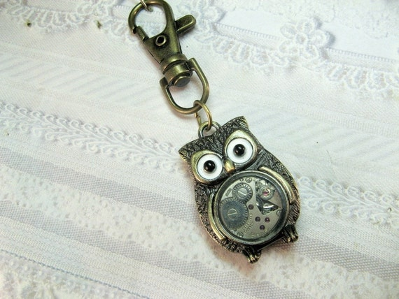 Brass Steampunk OWL KEYCHAIN - The ORIGINAL Owl Keychain - Watch Parts Owl Jewelry by BirdzNbeez - Wedding Birthday