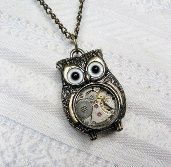 Brass Owl Necklace - Steampunk Owl Necklace - Jewelry by BirdzNbeez - Mother's Day Wedding Teacher Birthday