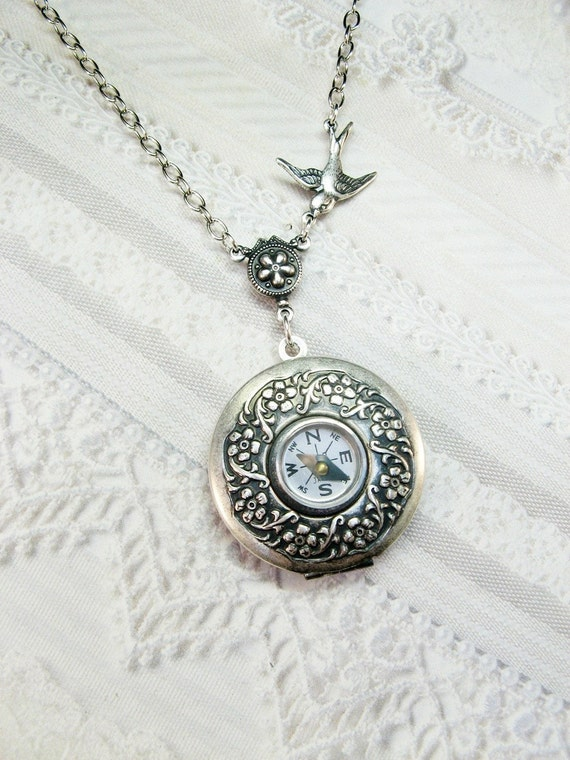 Silver Compass Locket - The ORIGINAL Compass Locket Necklace - Steampunk COMPASS LOCKET - Wedding Birthday Graduation Bridesmaid Gift