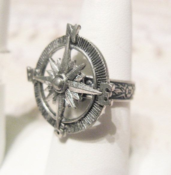 Silver Ring - Silver Compass Ring - Jewelry by BirdzNbeez  BIG ANNIVERSARY SALE
