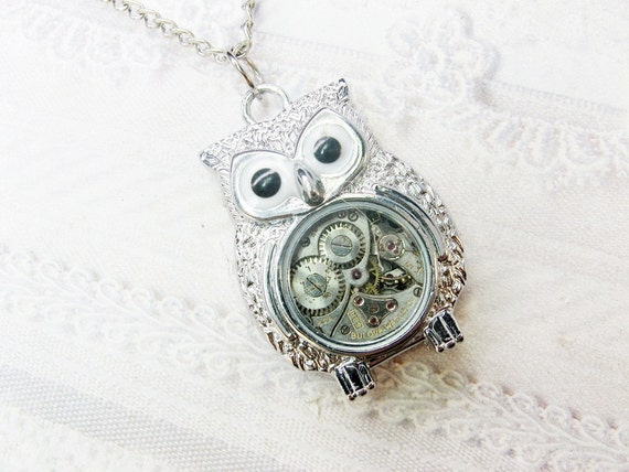 Silver Owl Necklace - Steampunk Owl Necklace - Jewelry by BirdzNbeez