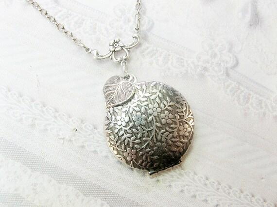Silver Locket Necklace - Silver Falling Leaves Locket - ORIGINAL by BirdzNbeez - Wedding Birthday Daughter Bridesmaids