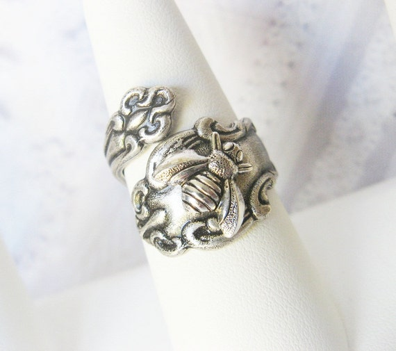 Spoon Ring - The ORIGINAL Silver Bee SPOON RING  - Jewelry by BirdzNbeez - Wedding Birthday Bridesmaids Gift