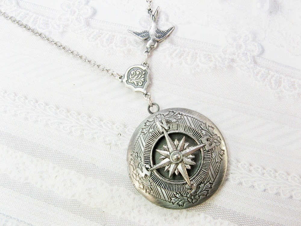 silver compass locket necklace travel locket necklace by