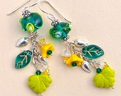 Sunny Meadow: Earrings of Lampwork Glass, Czech Glass, Swarovski Crystals, and Sterling Silver