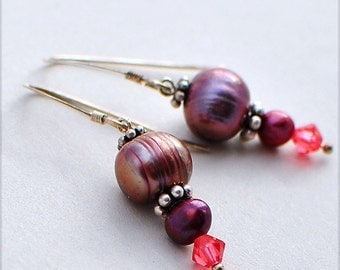 Pomegranate Pleasure, Earrings of Pearls, Swarovski Crystals, and Sterling Silver