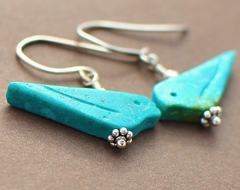 Mountain Bluebirds, Earrings of Turquoise and Sterling Silver