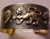 Rhodesian RIDGEBACK CUFF BRACELET & Lion. Vintage Style Jewelry for Dog Lovers ( signed Cloud k9 Jewelry )