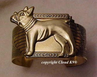 French Bulldog CUFF BRACELET Vintage Style French Bulldog Jewelry for Dog Lovers ..Signed Cloud K9 ( Boston Terrier / Frenchie )