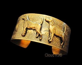 BEAGLE Jewelry: CUFF BRACELET Vintage Style Jewelry. Bangle Bracelet for Dog Lovers ...Signed Cloud K9  ( Beagle / Foxhound Gift)
