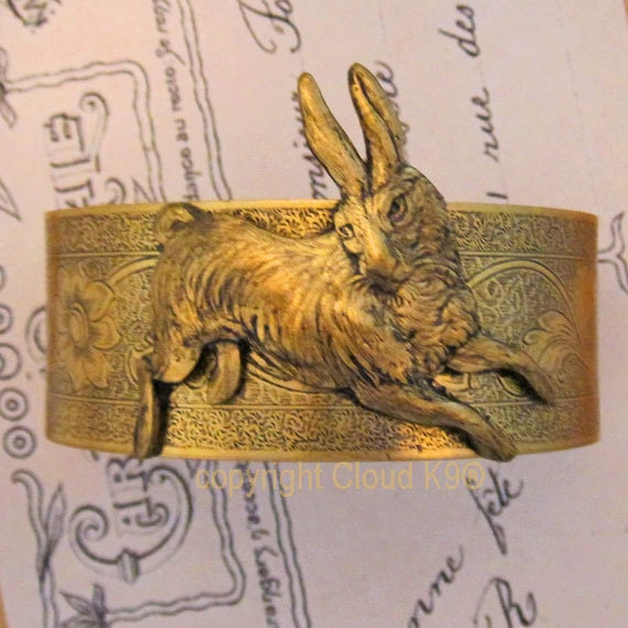 Bunny RABBIT Jewelry CUFF BRACELET.Vintage Style Rabbit Jewelry.Rabbit Lovers Gift. Running Bunny Bangle Bracelet. Le Lapin. Signed Cloud K9
