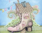 Old Woman in the Shoe Nursery Rhymes Print- Children's Wall Art and Decor- Nursery Art