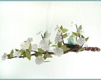 White Spring Bloom Tree Limb Mobile with Teal Bird- Baby Mobile- Nursery Mobile
