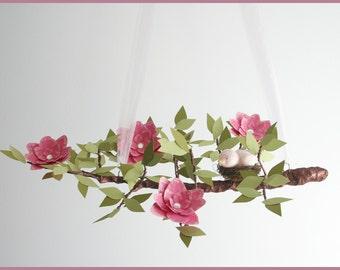 Rich Pink English Garden Tree Limb- Baby Mobile- Nursery Mobile- Hot Pink