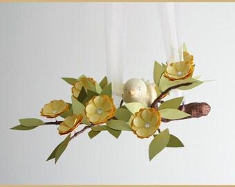 Yellow Spring Petite Tree Limb- baby Mobile- Nursery Mobile- Baby Bird