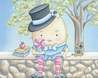 Humpty Dumpty Nursery Rhymes Print- Children's Wall Art and Decor-  Baby Nursery Art