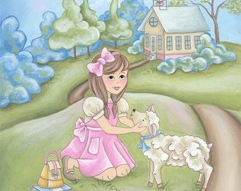 Mary Had A Little Lamb Nursery Rhymes Print- Children's Wall Art and Decor-  Baby Nursery Art
