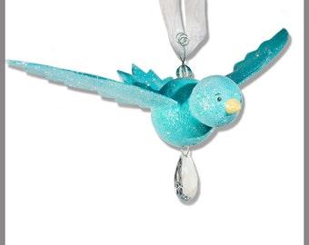 Sea Glass Blue Hanging Bird- baby Mobile- Nursery Decor