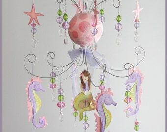 Purple and Pink Mermaid chandelier mobile- Baby Mobile- Nursery Mobile