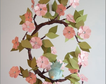 Tree Limb and Bird Mobile- Baby Mobile- Nursery Mobile- Light Pink- Blue