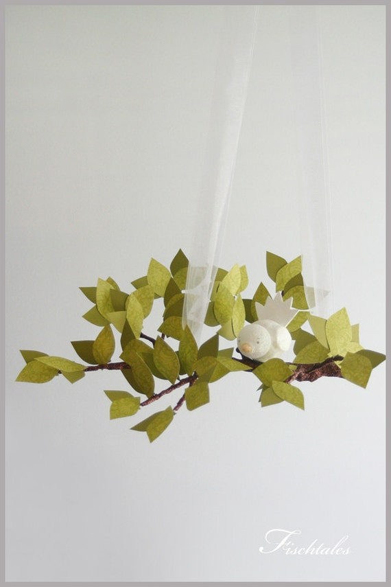 Gender Neutral Green Tree Limb Mobile- baby Mobile- Nursery Mobile