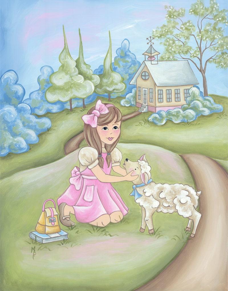 Nursery prints lamb : Mary had a little lamb nursery rhyme print