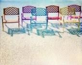 8x10 Beach Print - Art For Beach House - Beach House Decor - Rainbow Colors - Chairs Fine Art Print