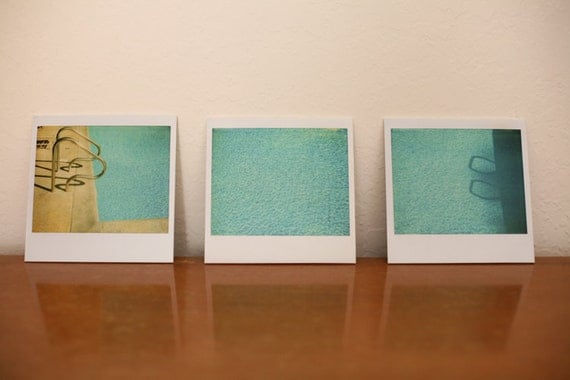Pool Triptych - Set of three 5x5 styrene display prints - Collage Retro Polaroid Prints - Swim Summer Blue Teal Turquoise - SALE
