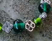 Celtic Green Glass Bead Bracelet