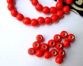 Ceramic Beads - Bright Red Round