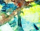 Abstract ACEO  Original Mixed Media Painting - Blue Tree
