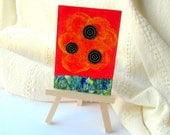 Abstract ACEO Original Mixed Media Painting - The Beginning