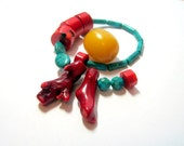Turquoise and Coral destash Bead Mix