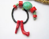 Turquoise Coral and Onyx Bead Mix