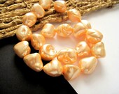 Peach Mother of Pearl Nugget Beads
