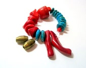 Sleeping Beauty Turquoise and Coral destash Bead Mix