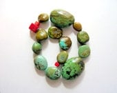 Rustic Turquoise Bead Mix, Shades of Olive Green, Browns and Blue