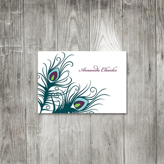 Peacock Feather Personalized Notecard, Set of ten Note Cards, Fun Colorful Personalized Note Cards, Elegant Peacock Feather Note Cards