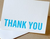 Letterpress Thank You Cards : True Blue Modern Block Thank You Notes - box of 25 small folded cards w envelope color choice
