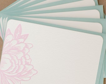 Stationery Notes, Letterpress Cards :  Peony Pink Small Blossoming Flower Notes, box of 5 flat notes w pool blue envelopes