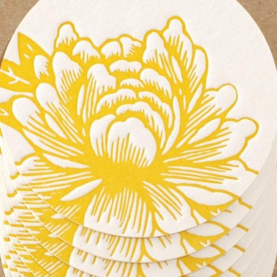 Letterpress Coasters : Sunshine Yellow Blossoming Flower Coaster Set - 6 coasters in brown kraft box