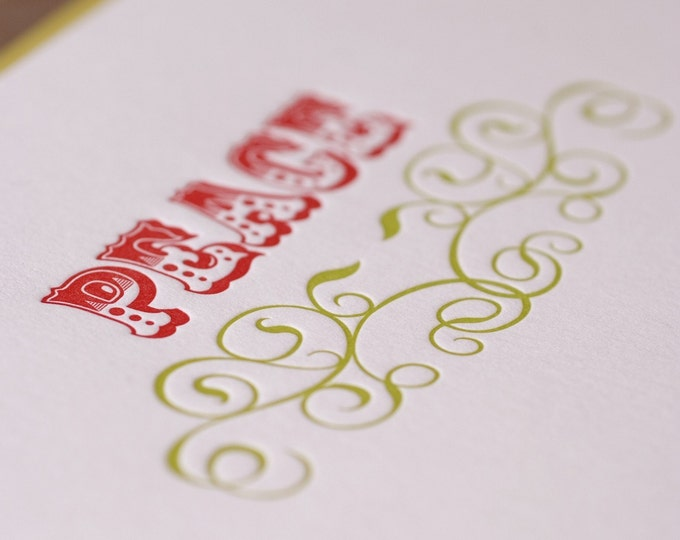 Letterpress Christmas Card Set : Fire Red and Bamboo Green Peace Holiday Cards - box of 5 large folded cards w chartreuse green envelopes