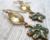 Vintage Floral Citrine and Opal Earrings