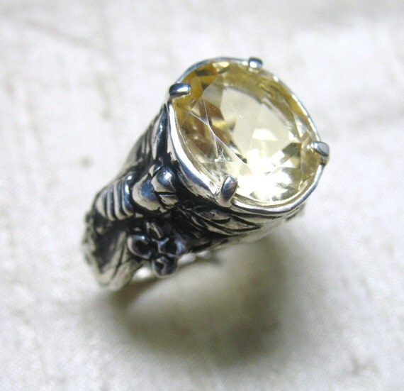 The Bee Ring- Citrine and Sterling