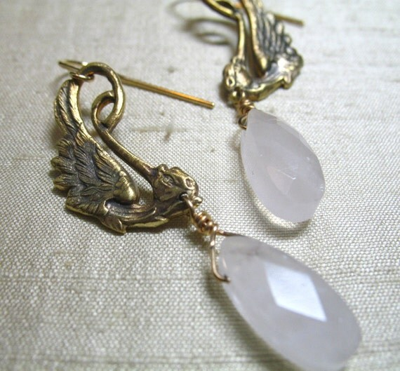 Vintage Dramatic Ibis Spoonbill Rose Quartz Earrings