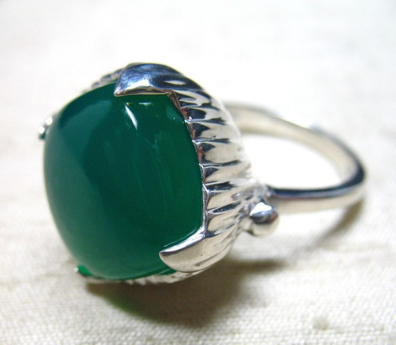 SALE The Amphora Ring- Green Onyx and Sterling Silver