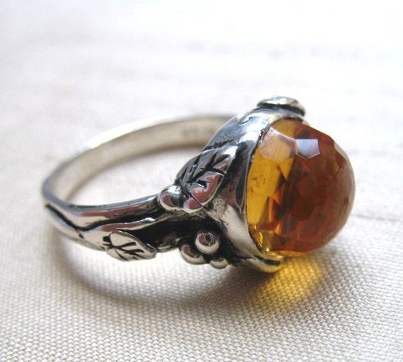 Citrine Woodland Vine Ring in Sterling